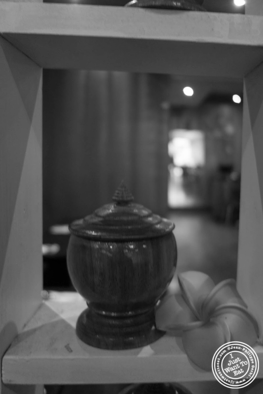 image of pottery and lotus flower at E-San Thai in Murray Hill, NYC, New York