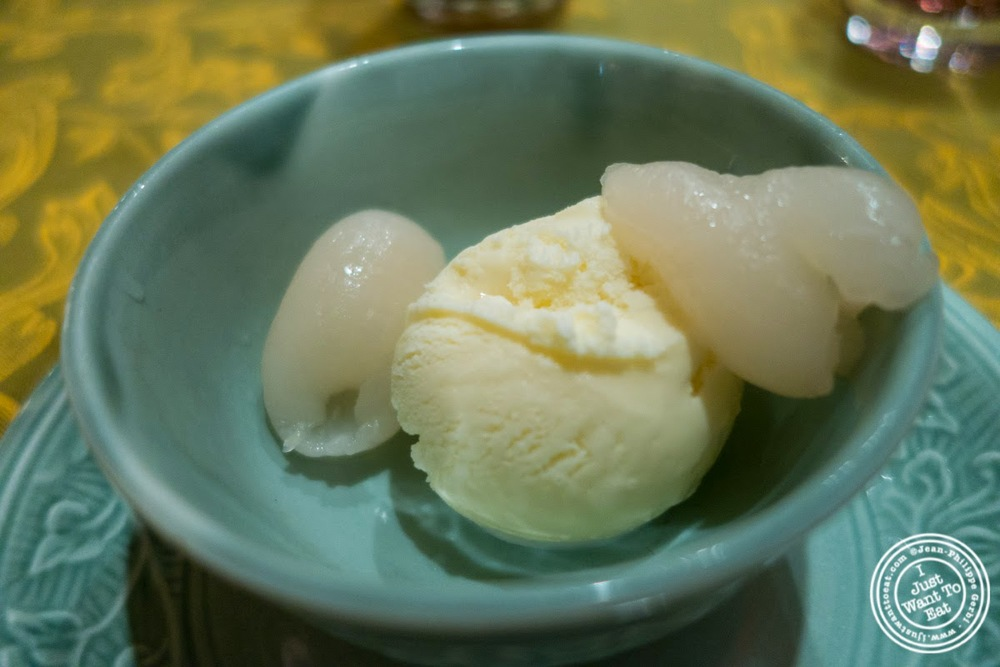 Vanilla ice cream with rambutan, The Spice Route at the Imperial Hotel in Delhi, India