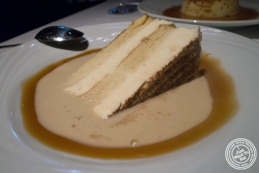 image of tres leches cake at Fogo De Chao Brazilian steakhouse in NYC, New York