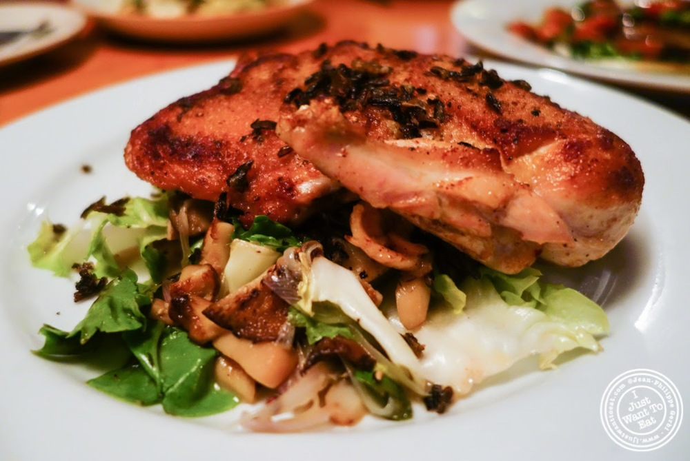 image of iron roasted split chicken at Left Bank in the West Village, NYC, New York
