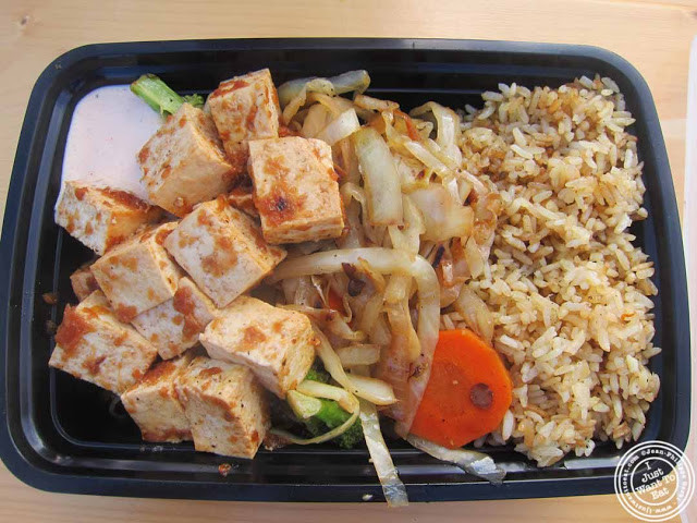 image of tofu dish at Hibachi heaven food truck at Pier 13 in Hoboken, NJ