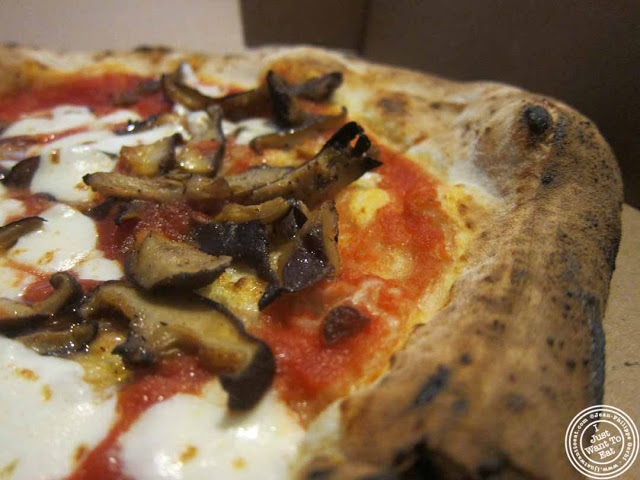 image of mushroom and truffle pizza at pizza vita food truck at Pier 13 in Hoboken, NJ
