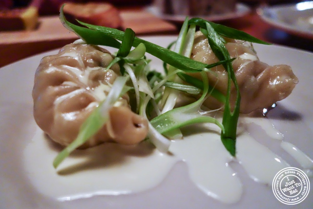 image of Mongolian fish dumpling at Left Bank in the West Village, NYC, New York