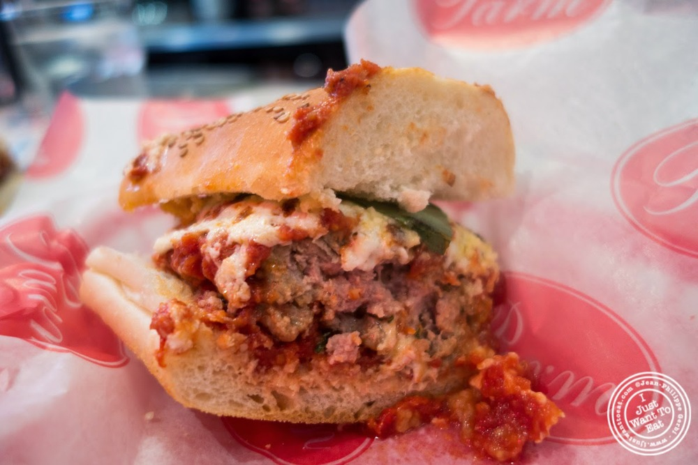 image of meatball sandwich at Parm in Nolita, NYC, New York