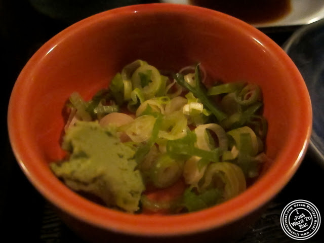 image of wasabi and chopped scallions at East Japanese Restaurant in NYC, New York