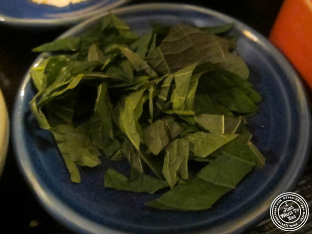 image of shredded shiso mint leaves at East Japanese Restaurant in NYC, New York