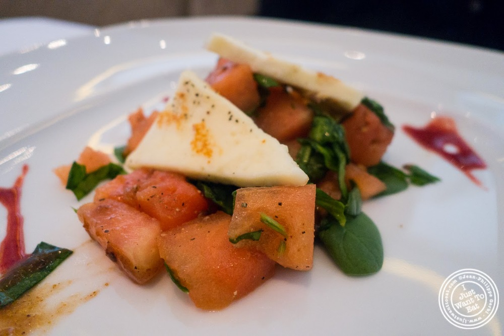 image of spinach and watermelon salad at Tamarind, Indian cuisine, in Tribeca, NYC, New York