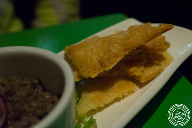 image of pate sablee and truffled mushroom duxelle at Table Verte, French vegetarian restaurant in NYC, New York