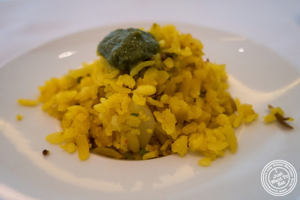 image of rice with mint sauce at Tamarind, Indian cuisine, in Tribeca, NYC, New York