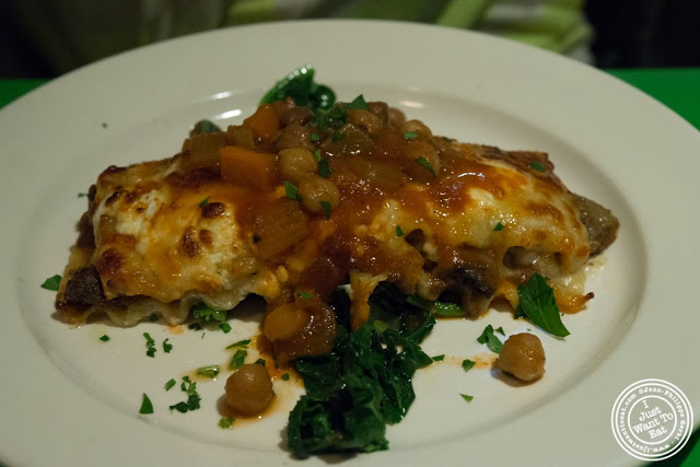 image of eggplant lasagna at Table Verte, French vegetarian restaurant in NYC, New York