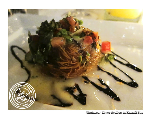 Image of Diver scallop in ktaifi filo at Thalassa Greek Restaurant in Tribeca, NYC, New York