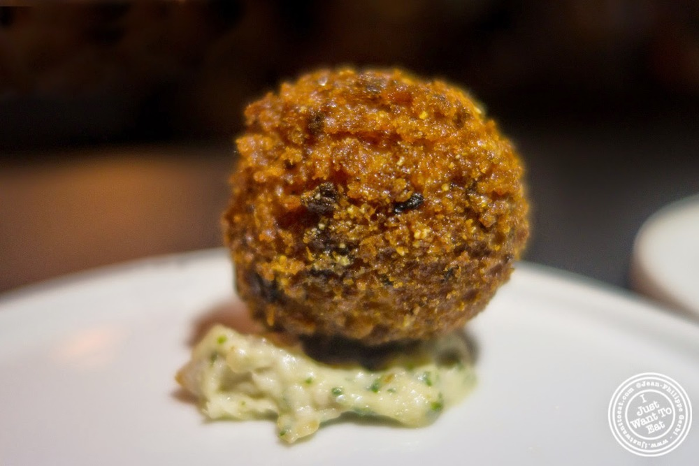 image of cod croquette at Skál on the Lower East Side, NYC, New York