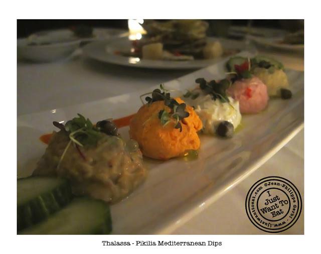 Image of Pikilia Mediterranean dips at Thalassa Greek Restaurant in Tribeca, NYC, New York