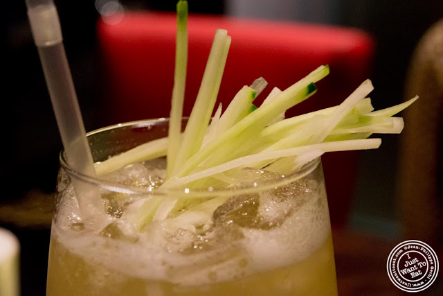 image of cucumber cooler cocktail at Aji 53, Japanese restaurant in Brooklyn, New York