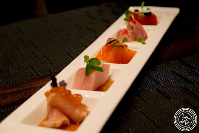 image of five way sashimi at Aji 53, Japanese restaurant in Brooklyn, New York