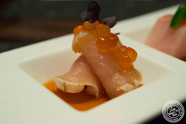 image of Albacore tuna sashimi at Aji 53, Japanese restaurant in Brooklyn, New York