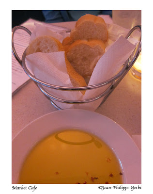 Image of Bread and olive oil at Market Cafe in NYC, New York