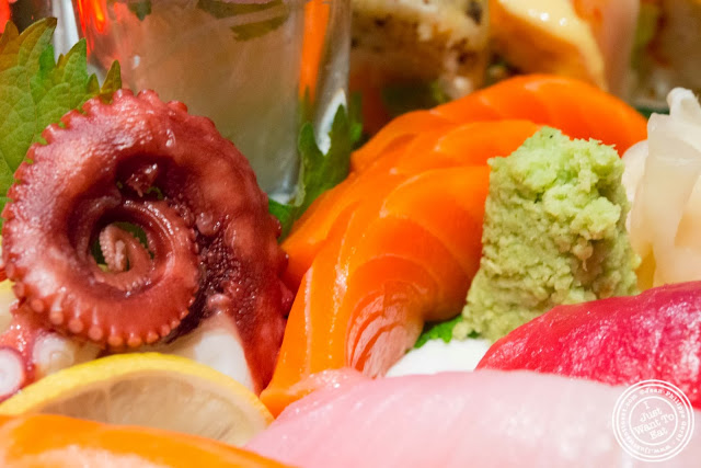 image of salmon sashimi and wasabi at Aji 53, Japanese restaurant in Brooklyn, New York