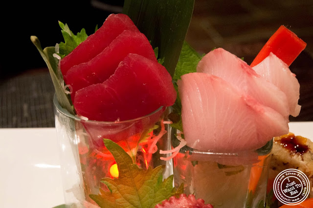 image of big eye tuna and yellowtail sashimi at Aji 53, Japanese restaurant in Brooklyn, New York