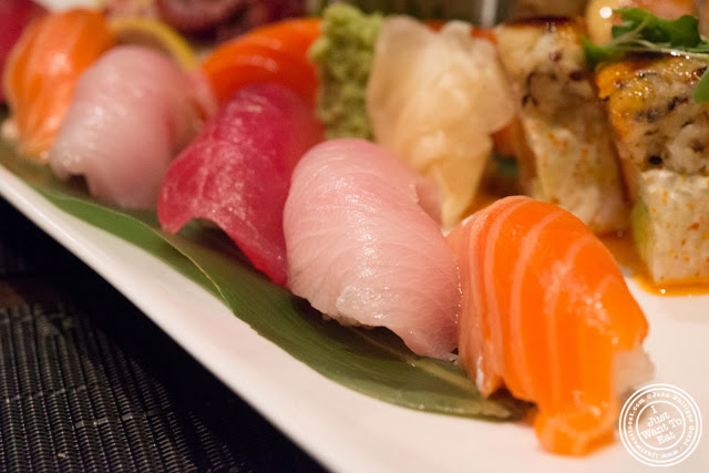 image of salmon, yellowtail (bon-hamachi) and big eye tuna sushi at Aji 53, Japanese restaurant in Brooklyn, New York