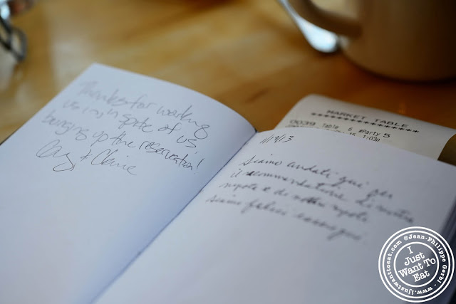 Image of comment book at Market Table in NYC, New York