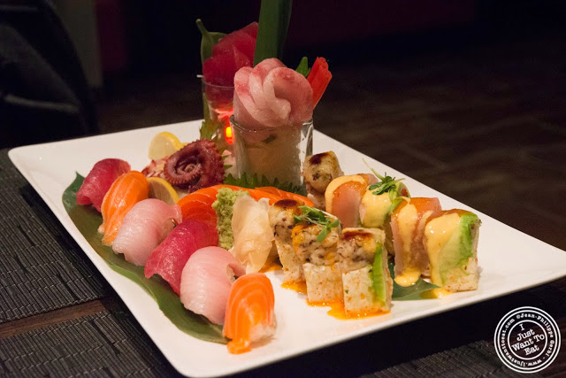 image of sashimi and sushi at Aji 53, Japanese restaurant in Brooklyn, New York