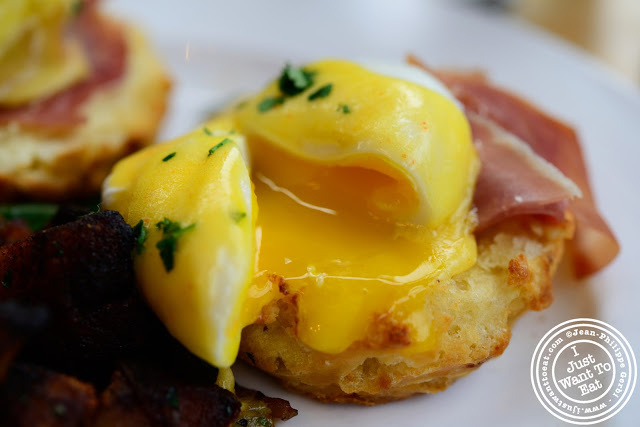 Image of Yolk of Eggs Benedict at Market Table in the West Village - NYC, New York