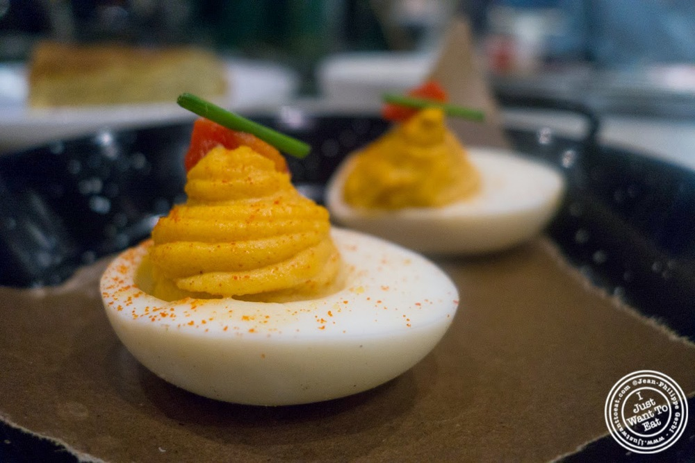 image of Deviled eggs at El Colmado at The Gotham West Market