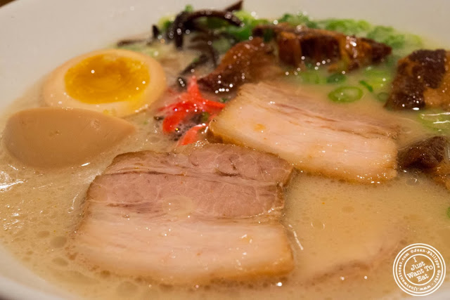 image of chashu in Shiromaru Hakata Classic at Ippudo West Side in NYC, New York