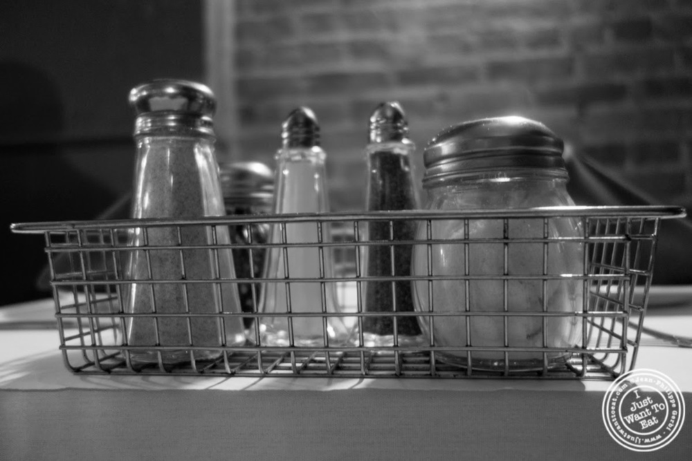 image of condiments at Lazzara's Pizza and Café in the Garment District, NYC, New York