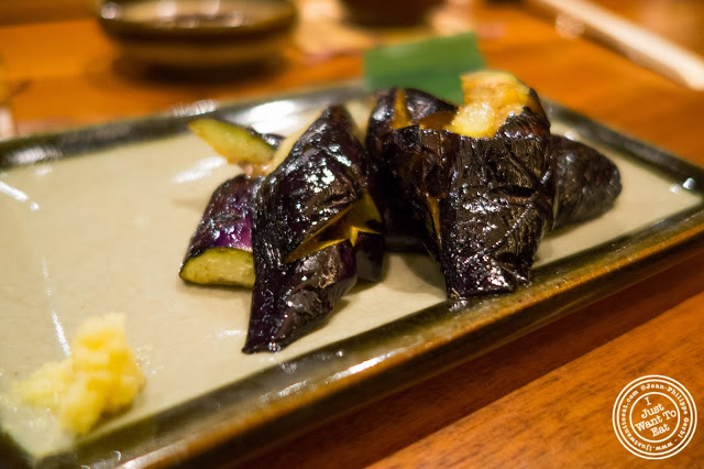 image of grilled eggplant at Inakaya in Times Square, NYC, New York