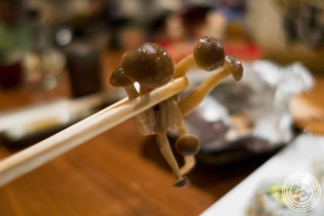 image of shimeji mushrooms at Inakaya in Times Square, NYC, New York