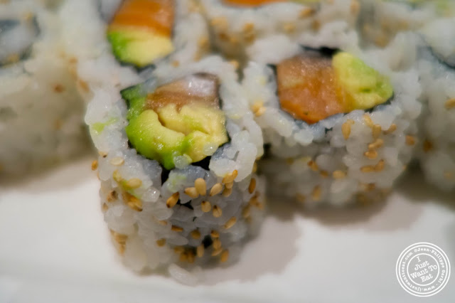 image of avocado and salmon roll at Inakaya in Times Square, NYC, New York