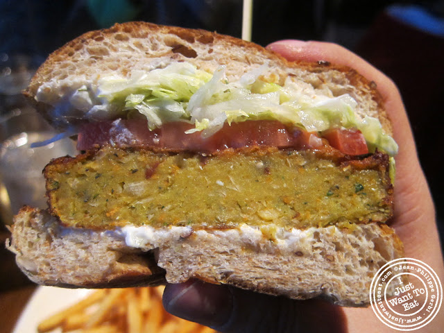 Image of Vegetarian veggie burger at Burger and Barrel in NYC, New York