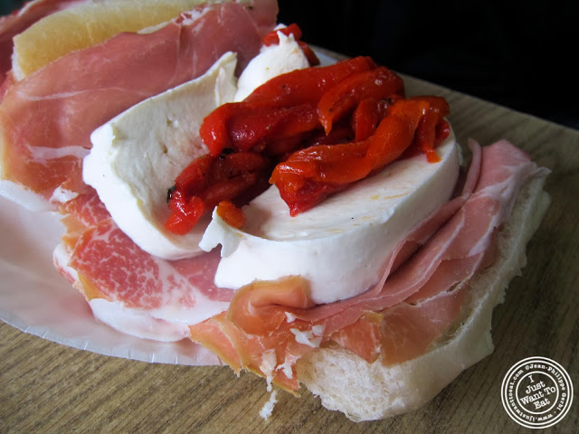 image of Italian sub with fresh mozzarella at M&P Biancamano in Hoboken, NJ
