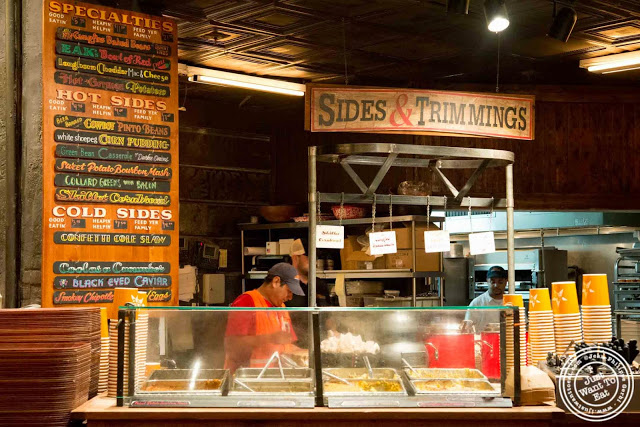 image of sides and trimming station at Hill Country in NYC, New York