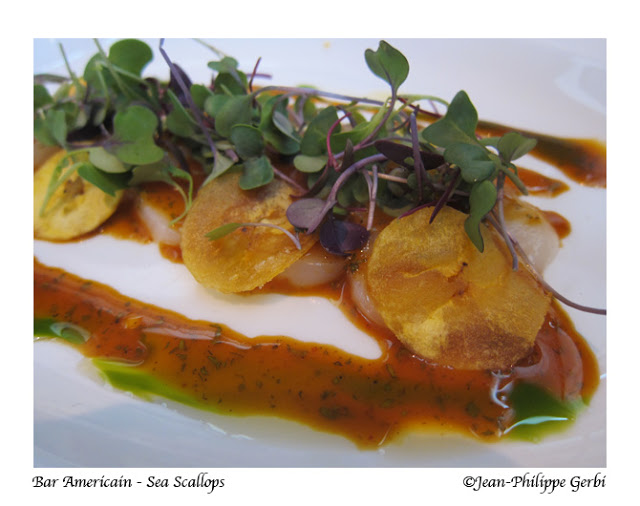 Image of Sea scallops with plantains at Bar Americain in NYC, New York