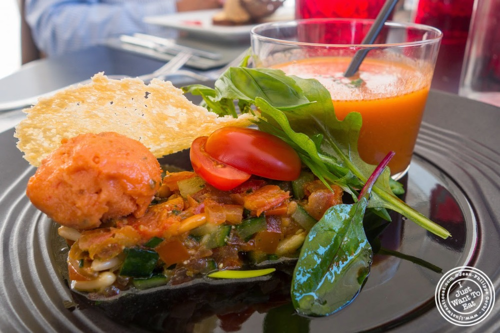 image of tomato salad and gazpacho at Les Jardins de Sainte-Cécile in Grenoble, France