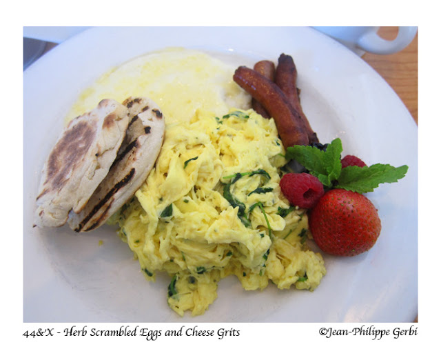 Image of Herb scrambled eggs with cheddar grits at 44 and X in NYC, New York