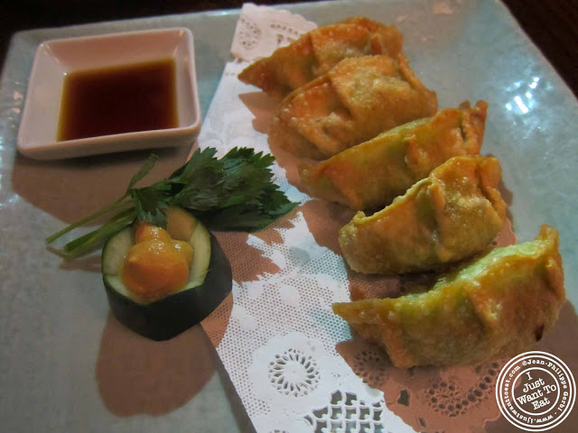Image of vegetable gyoza at Japonica, Japanese restaurant in Greenwich Village, NYC, New York