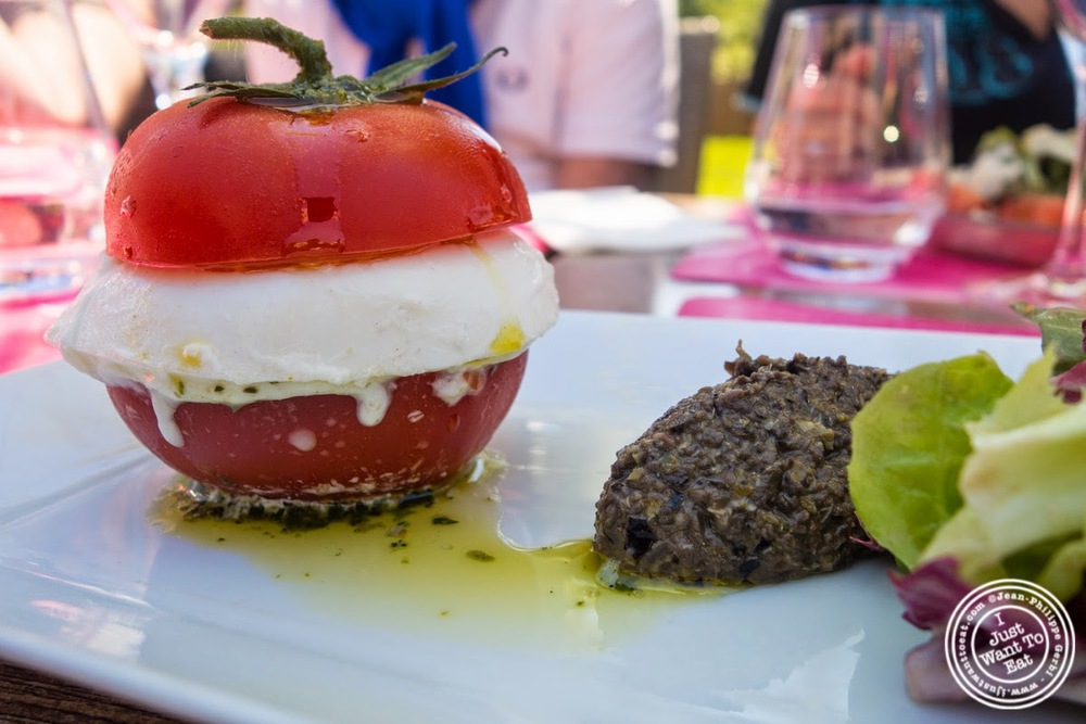 image of burger of tomato and mozzarella at Le Lido Plage in Aix-Les-Bains, France