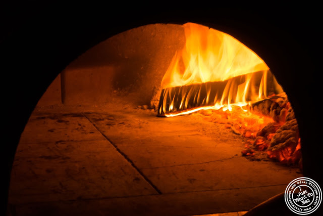 image of wood fire oven at Mezzaluna in Soho, New York City, NY