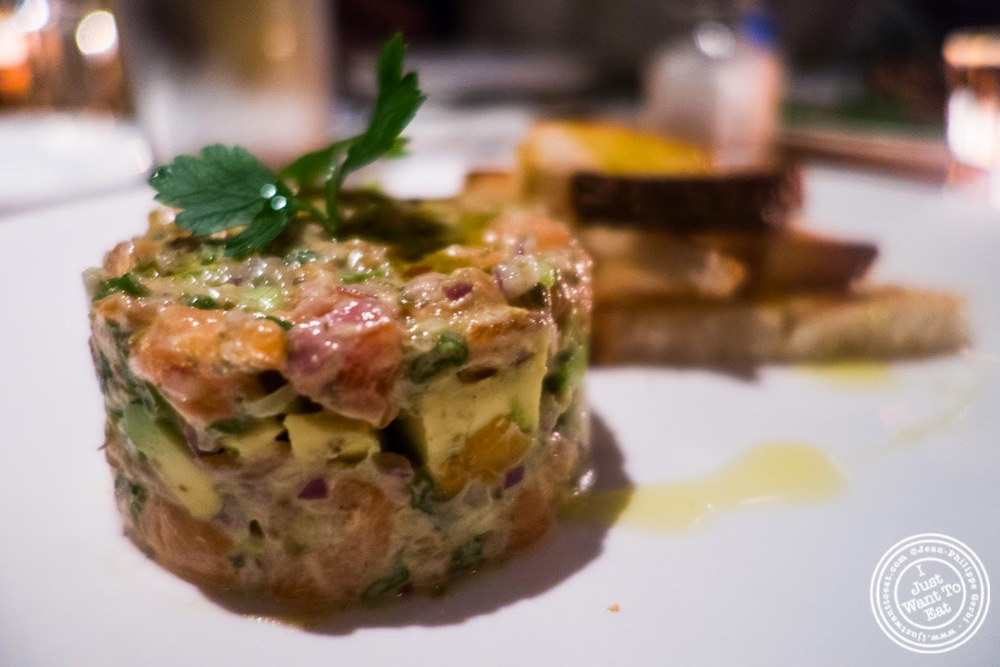 image of Scottish wold salmon and avocado tartare at Da Marcella Taverna in Greenwich Village, NYC, New York