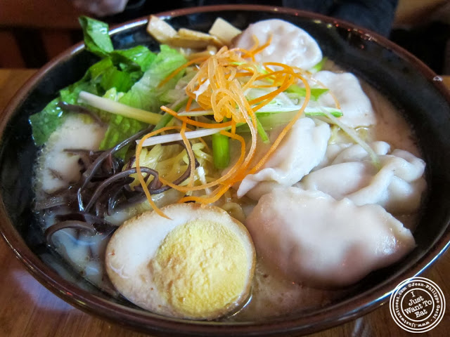 image of Wonton ramen at Umami Shoppu in the West Village, NYC, New York