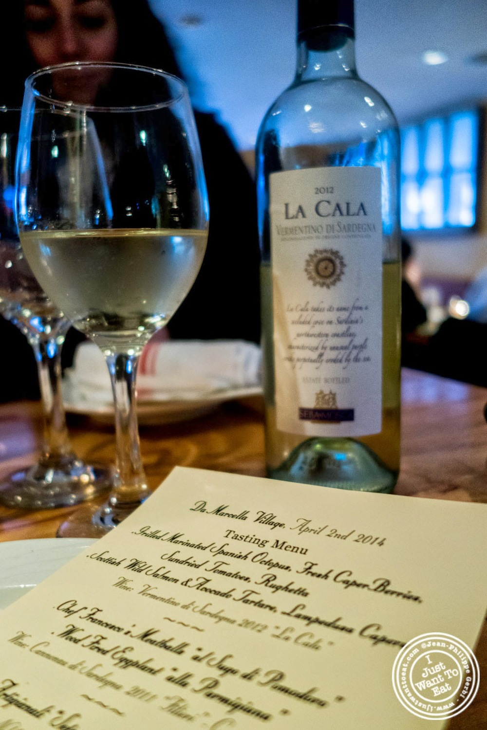 "image of Vermentino di Sardegna 2012 ""La Cala"" at Da Marcella Taverna in Greenwich Village, NYC, New York"