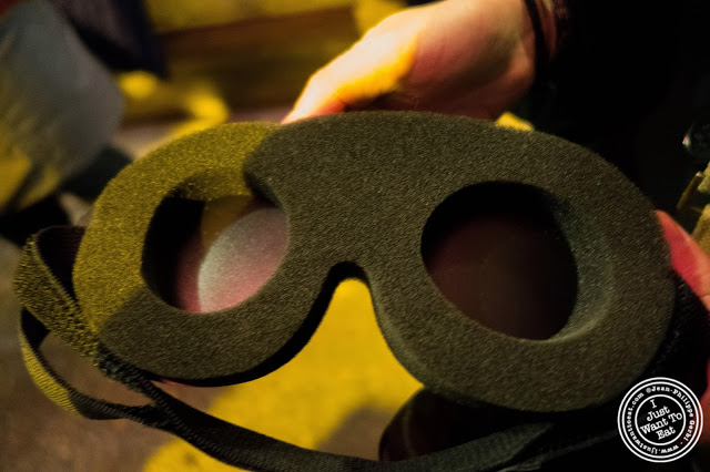 image of mindfold for Dark Dining Projects - blindfolded dinner at Camaje bistro in Greenwich Village, NYC, New York
