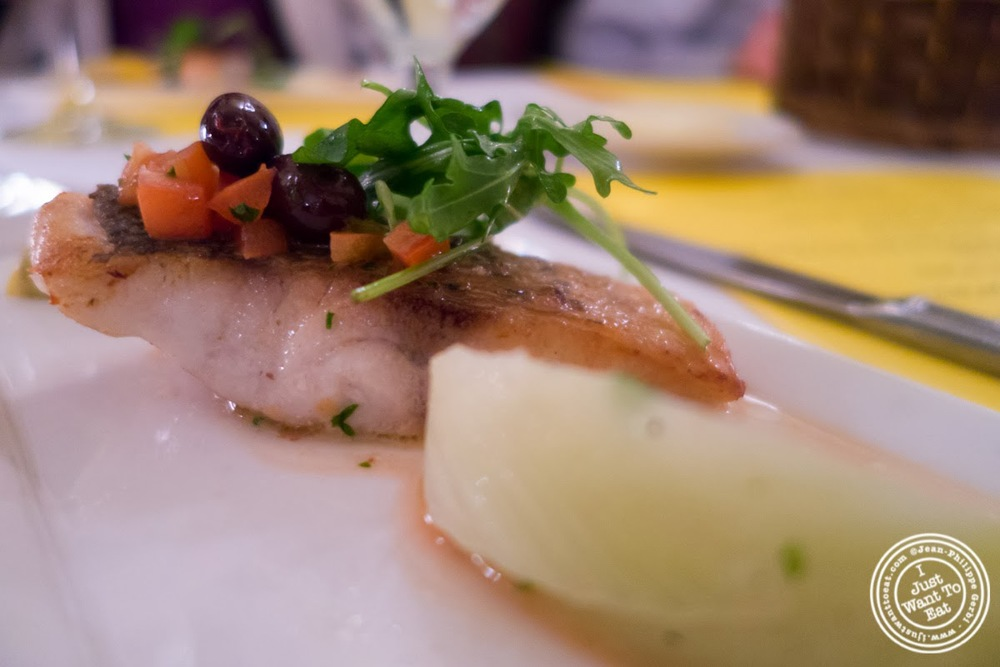 image of striped sea bass at Sel et Poivre on the Upper East Side, NYC, New York