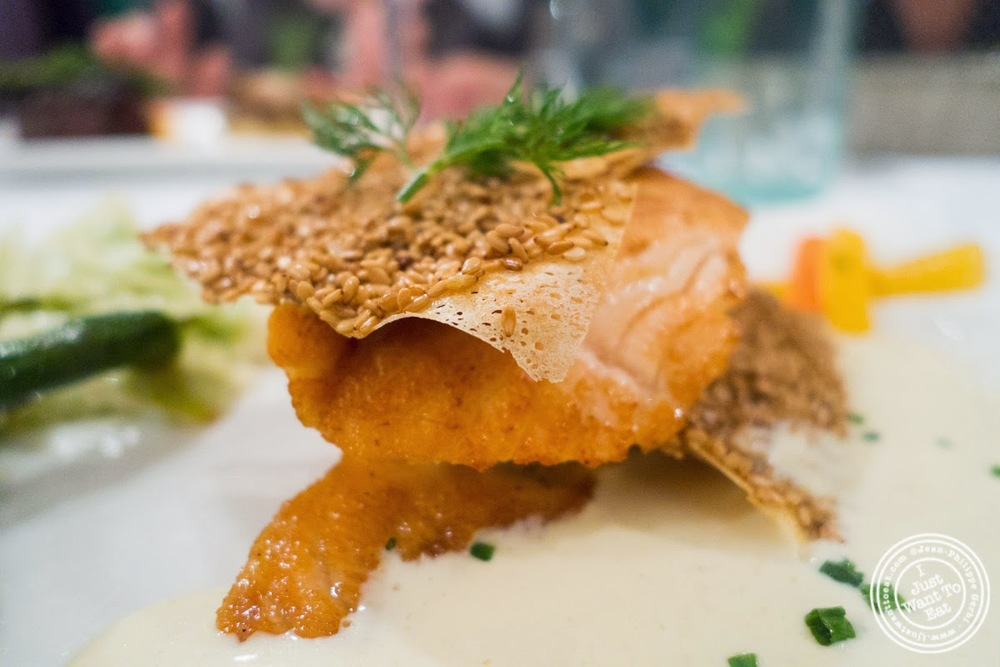 image of salmon millefeuille at Le Chaudron in Tournon, France