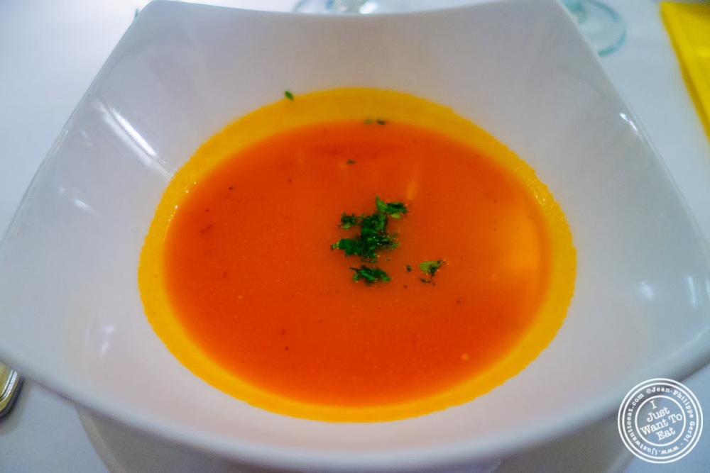 image of red pepper bisque at Sel et Poivre on the Upper East Side, NYC, New York