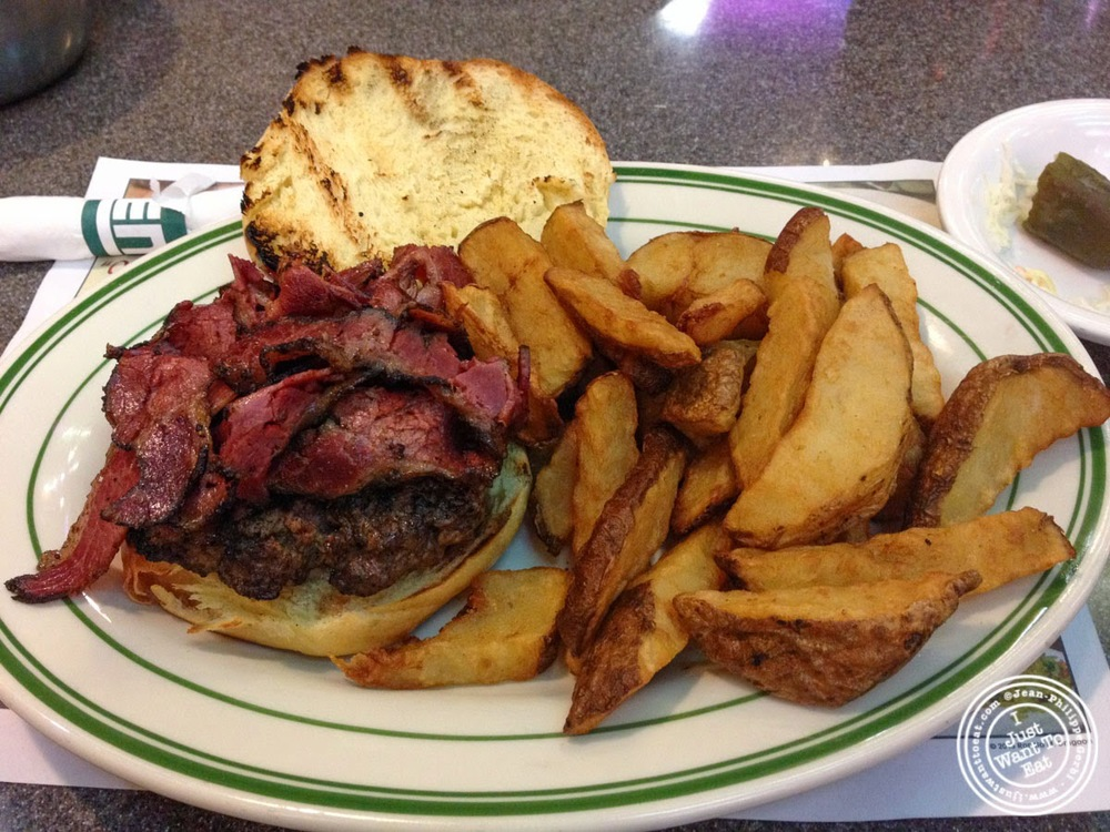 image of pastrami burger at Ben's Kosher Delicatessen in NYC, New York